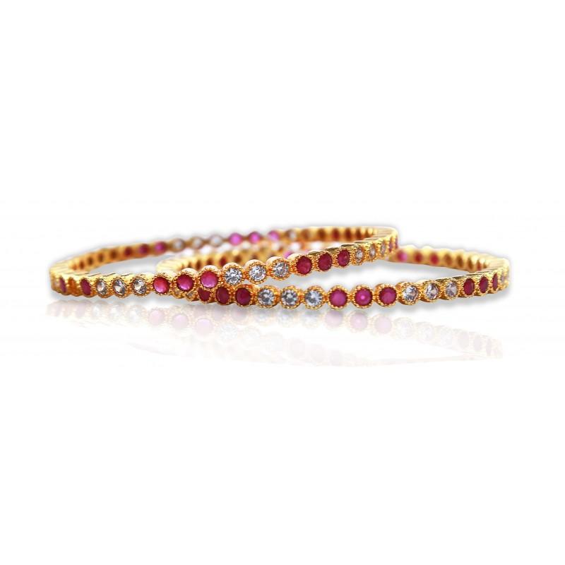 Buy One Gram Gold Ruby American Diamond Stone Bangles|Kollam Supreme