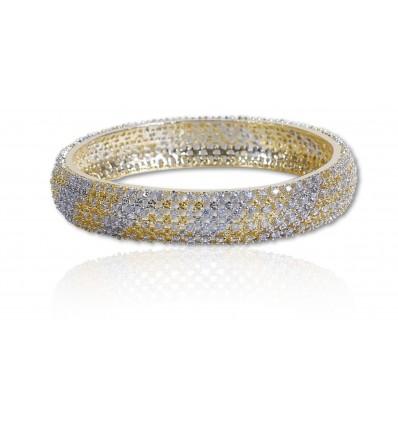 White Gold American Diamond Medium Bangle