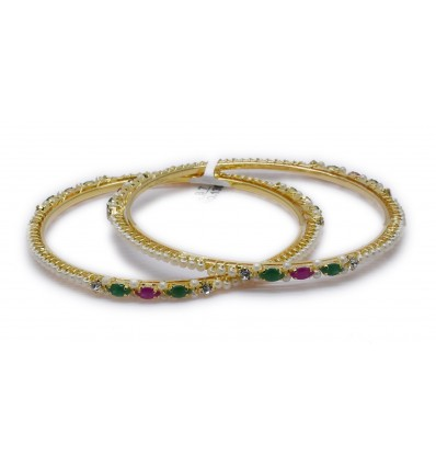 Gold plated Designer Pearl Bangles with Red and Green Stone
