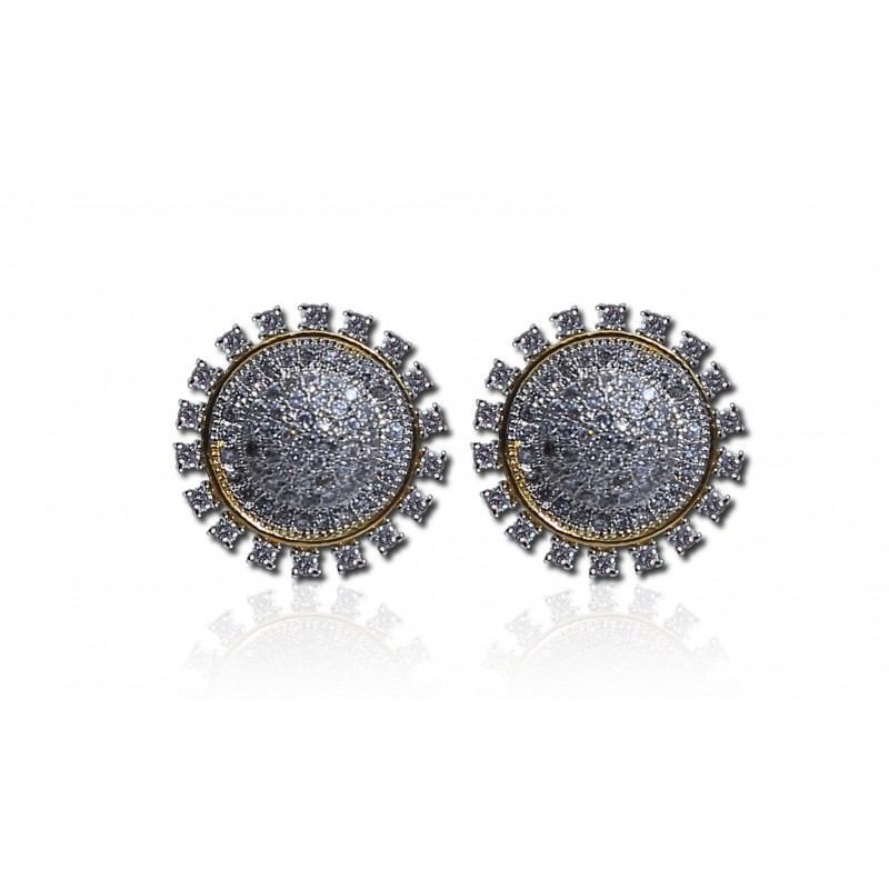 Buy Cubic zircon White Gold Round Ear Studs online Kollam supreme