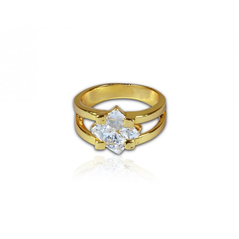 buy micro gold plated white stone finger ring online