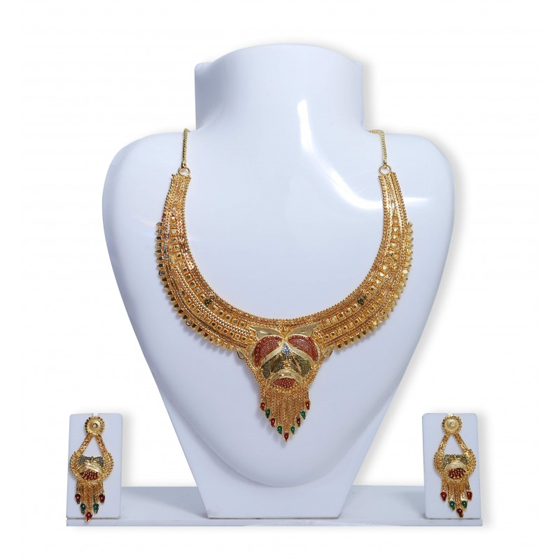 Buy Enamel Gold Plated Designer Meenakari Necklace Set|Kollamsupreme