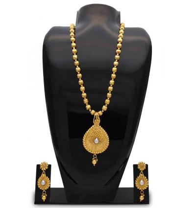 Antique MC Ball Chain with Golden Pear Shape Pendant Set