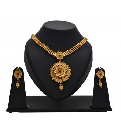 Multicolor Pendant Antique Layerl Necklace Set