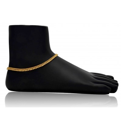 Micro Gold plated Link Chain Bead Anklets