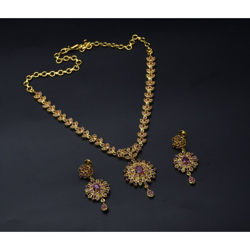 Buy stunning one gram gold plated ruby necklace onlinekollamsupreme one gram gold plated ruby necklace mozeypictures Image collections