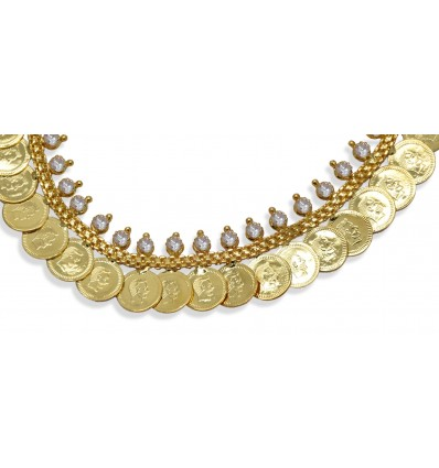 Traditional Gold Plated White Stone Head Coin Kash Necklace