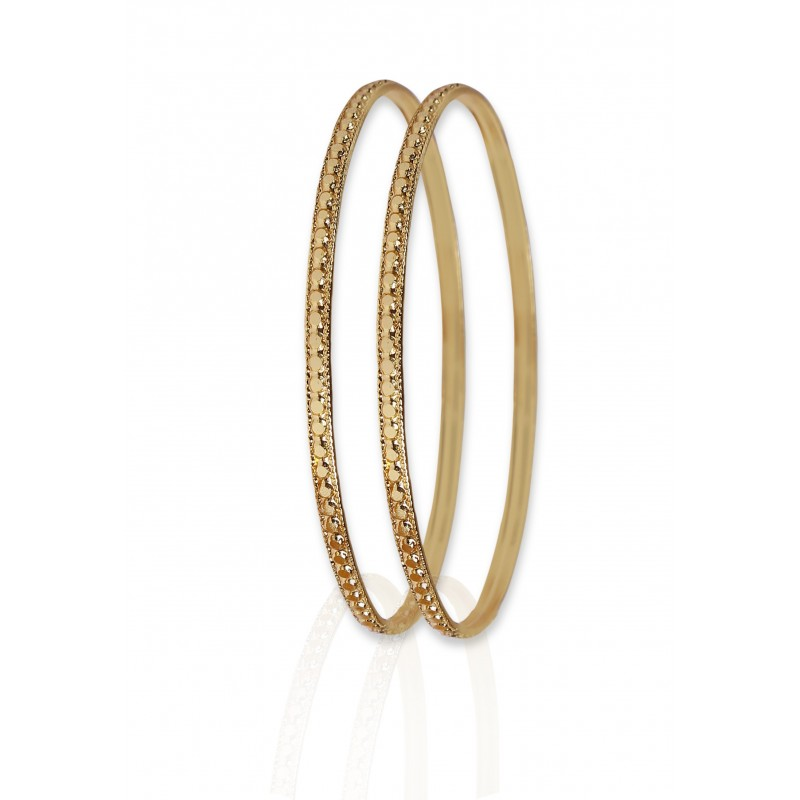 Buy Stylish Machine Cutting Gold Plated Bangles Online|Kollam Supreme