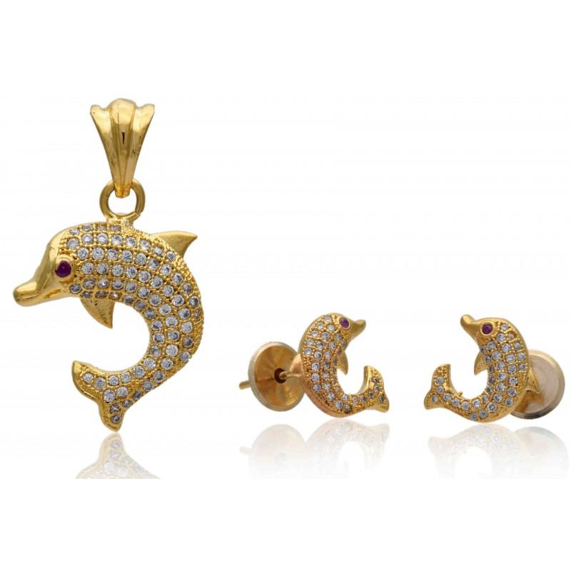 Buy stylish gold plated czs dolphin pendant setskollam supreme stylish premium gold plated dolphin pendant sets aloadofball Gallery