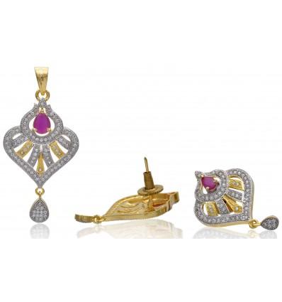 Stunning Premium Gold plated American Diamond Ruby Designer Pendant Sets