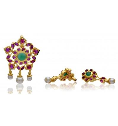 Buy One Gram Gold Ruby Emerald Pearl Pendant Set Online