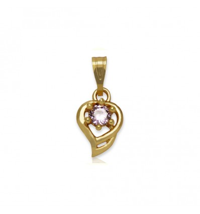 Gold Plated Little Heart Pendant With Pink Stone