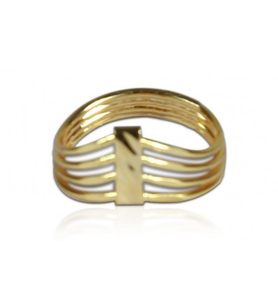 Simple Gold Plated Four Strand Finger Ring