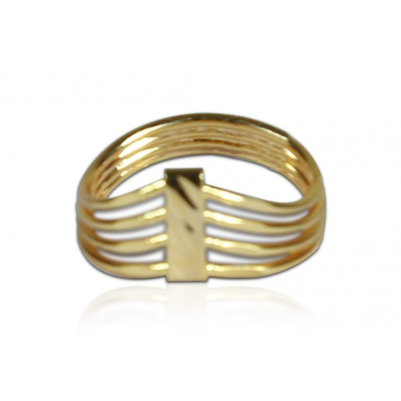 buy simple gold plated four strand finger ring