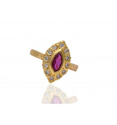 Elegant American Diamond Ruby Finger Ring