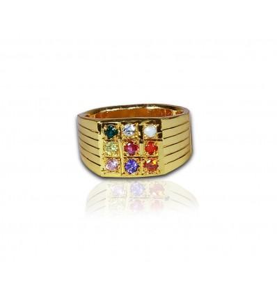 Gent's Gold plated Navaratna Finger Ring