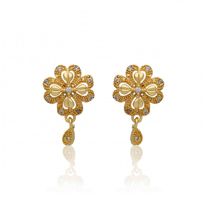 Buy Gold Plated Semi-Precious Stone Floral Studs Online|Kollam Supreme
