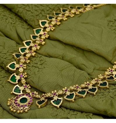 Buy Traditional 1 Gram Gold Green Palakka Mala Online