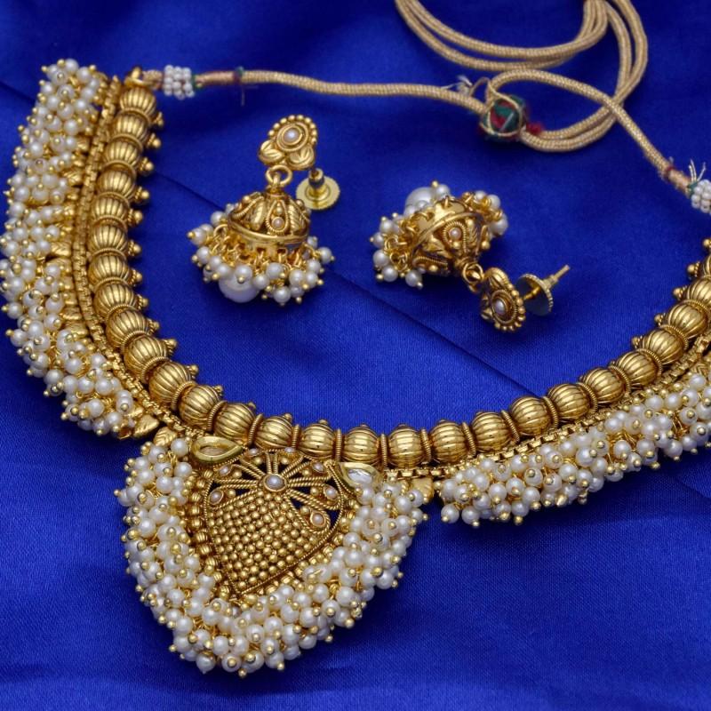 Buy Designer beautiful kundan pearl necklace with jhumkas Set ...