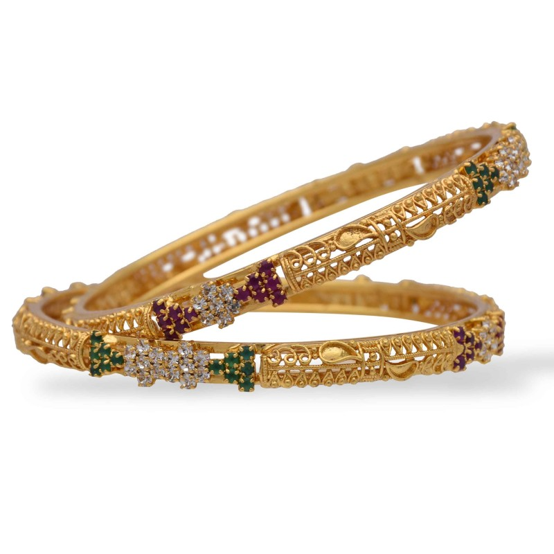 buy thread and loreal pink with gold in products silk handicrafts work khushi online bangles