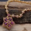 Beautiful Gold Plated Floral Stone Necklace