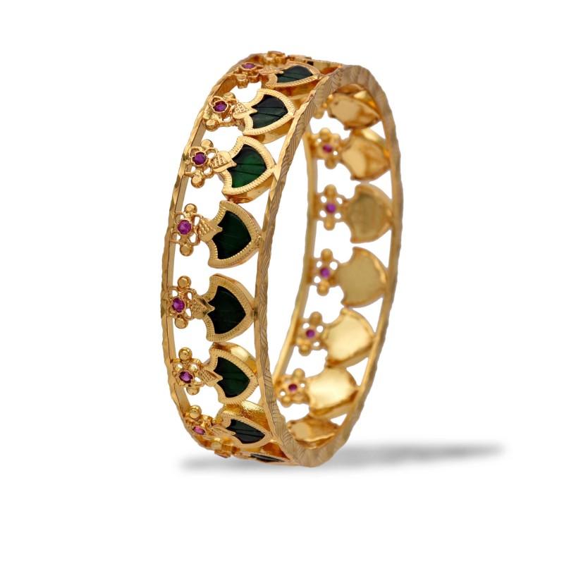 Buy One Gram Gold Palakka Bangle With Stones Online Kollam