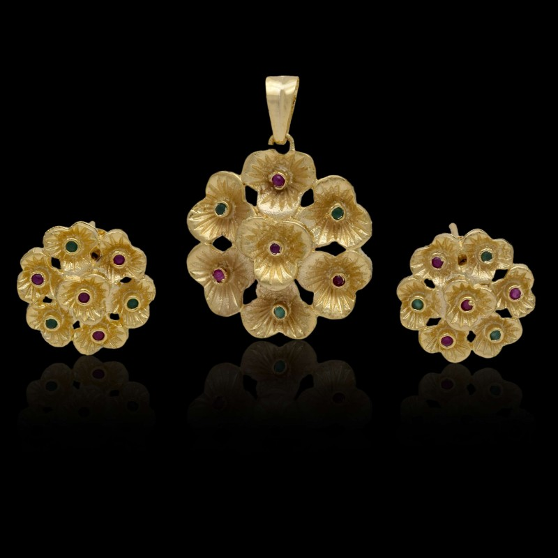 Pendant sets premium gold plated kollam supreme premium fashion one gram gold floral semi pendant set aloadofball Image collections