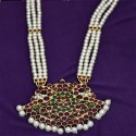 Gold Plated RG Stone Peacock Three line Pearl Mala For Classical Dances