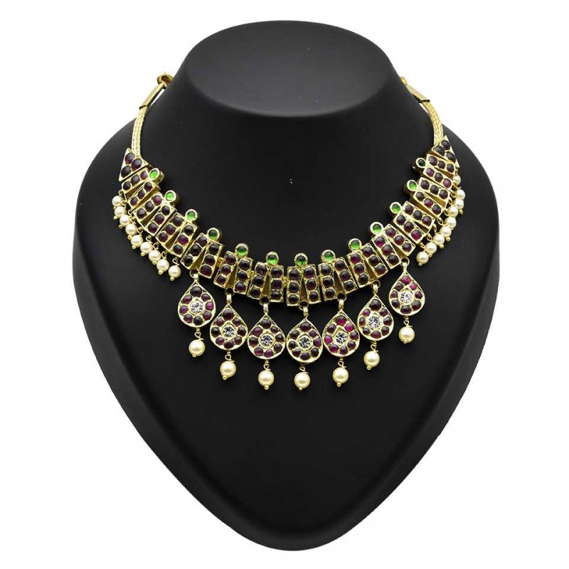 ea6b513e6a5 Classic Kemp Stone Temple Jewellery Necklace Buy Online