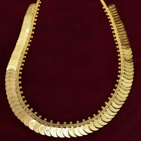 Traditional Gold Plated Cash/Coin Bridal Long Chain Haram