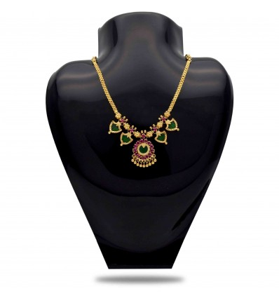 One Gram Gold Plated Green Double Palakka Necklace