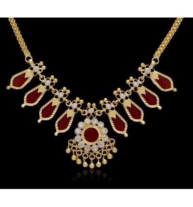 Kerala traditional simple Green Nagapadam Necklace